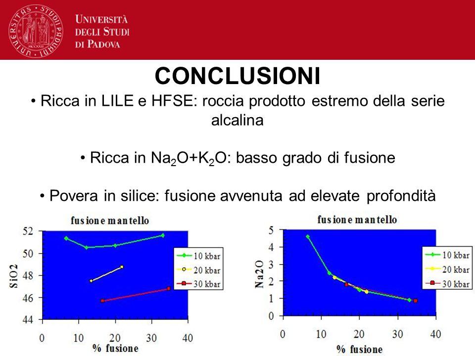 CONCLUSIONI Ricca in LILE e HFSE: roccia prodotto estremo della serie alcalina Ricca in Na 2 O+K 2 O: basso grado di fusione Povera in silice: fusione