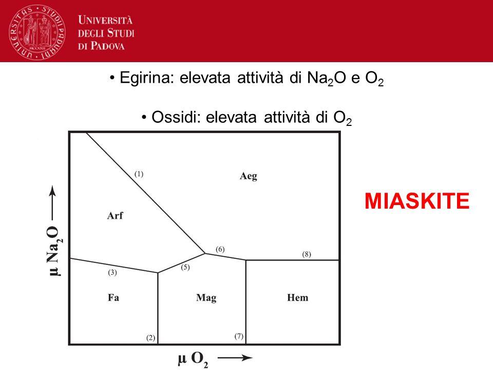 Egirina: elevata attività di Na 2 O e O 2 Ossidi: elevata attività di O 2 MIASKITE