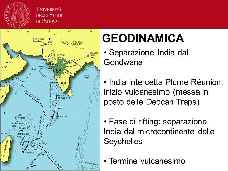 Separazione India dal Gondwana India intercetta Plume Réunion: inizio vulcanesimo (messa in posto delle Deccan Traps) Fase di rifting: separazione Ind