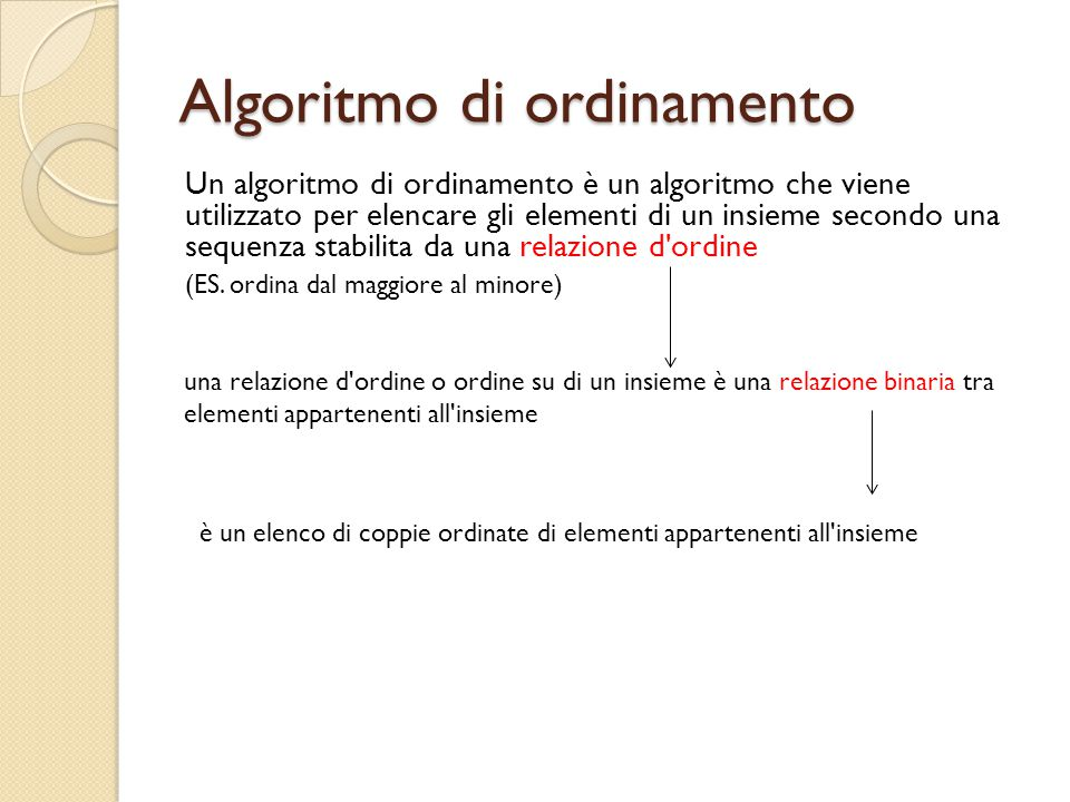 Algoritmo di ordinamento Un algoritmo di ordinamento è un algoritmo che viene utilizzato per elencare gli elementi di un insieme secondo una sequenza