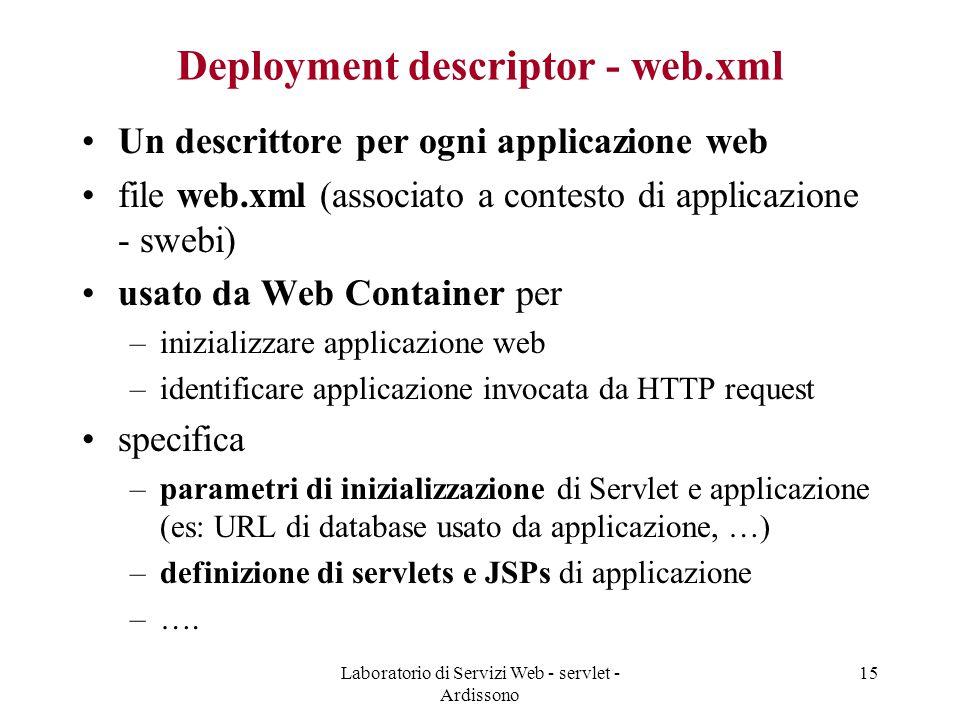 Laboratorio di Servizi Web - servlet - Ardissono 15 Deployment descriptor - web.xml Un descrittore per ogni applicazione web file web.xml (associato a contesto di applicazione - swebi) usato da Web Container per –inizializzare applicazione web –identificare applicazione invocata da HTTP request specifica –parametri di inizializzazione di Servlet e applicazione (es: URL di database usato da applicazione, …) –definizione di servlets e JSPs di applicazione –….