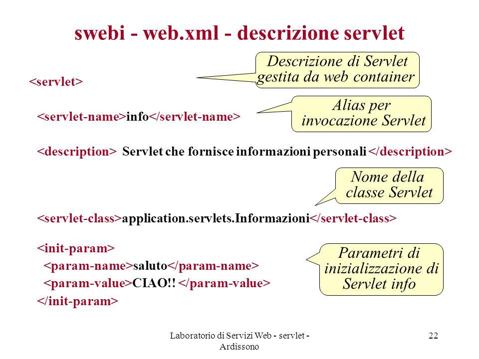 Laboratorio di Servizi Web - servlet - Ardissono 22 swebi - web.xml - descrizione servlet info Servlet che fornisce informazioni personali application.servlets.Informazioni saluto CIAO!.