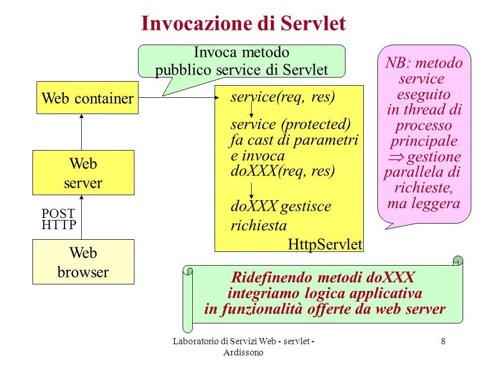 Laboratorio di Servizi Web - servlet - Ardissono 8 Invocazione di Servlet Web container Web server Web browser POST HTTP HttpServlet Invoca metodo pubblico service di Servlet service(req, res) service (protected) fa cast di parametri e invoca doXXX(req, res) doXXX gestisce richiesta Ridefinendo metodi doXXX integriamo logica applicativa in funzionalità offerte da web server NB: metodo service eseguito in thread di processo principale  gestione parallela di richieste, ma leggera