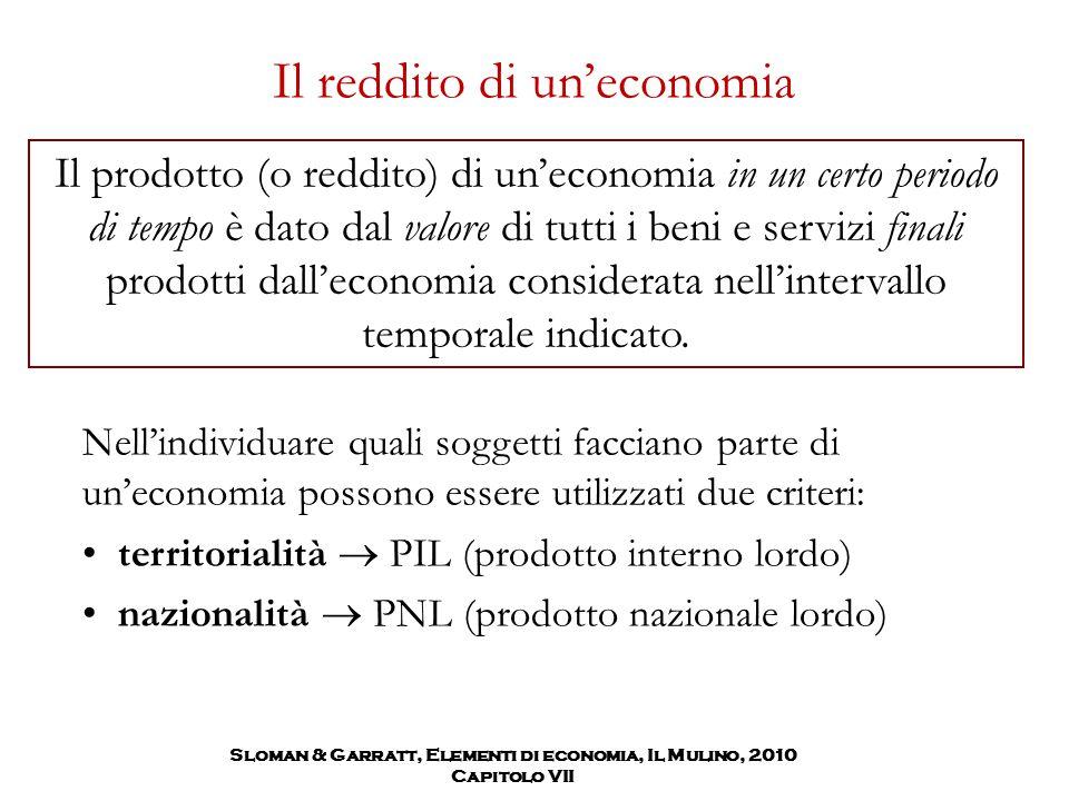 Sloman & Garratt, Elementi di economia, Il Mulino, 2010 Capitolo VII Il reddito di un'economia Il prodotto (o reddito) di un'economia in un certo peri