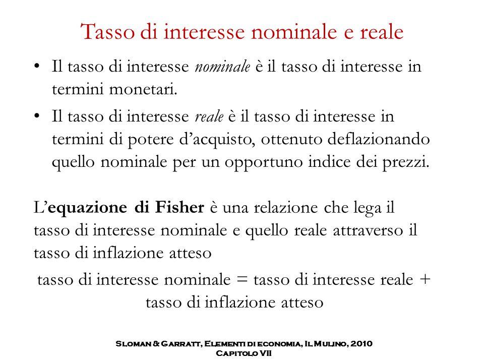 Sloman & Garratt, Elementi di economia, Il Mulino, 2010 Capitolo VII Tasso di interesse nominale e reale Il tasso di interesse nominale è il tasso di
