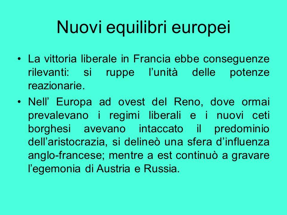 Nuovi equilibri europei La vittoria liberale in Francia ebbe conseguenze rilevanti: si ruppe l'unità delle potenze reazionarie. Nell' Europa ad ovest