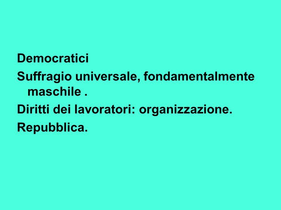 Democratici Suffragio universale, fondamentalmente maschile. Diritti dei lavoratori: organizzazione. Repubblica.
