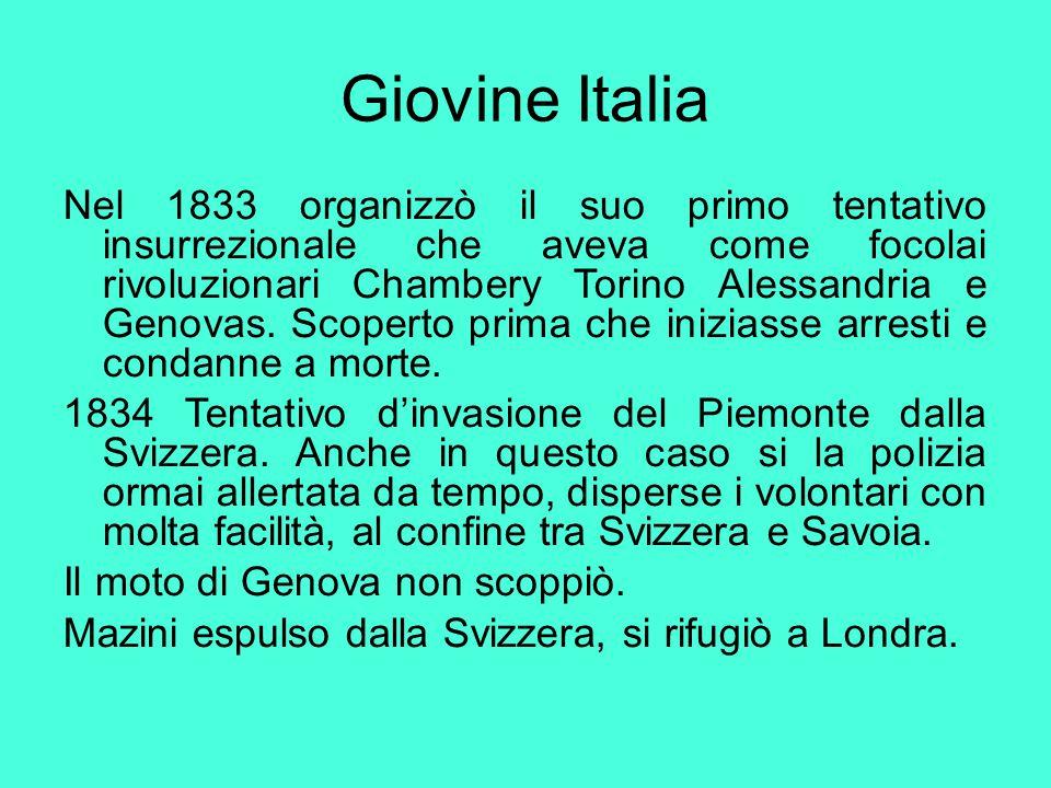 Giovine Italia Nel 1833 organizzò il suo primo tentativo insurrezionale che aveva come focolai rivoluzionari Chambery Torino Alessandria e Genovas. Sc