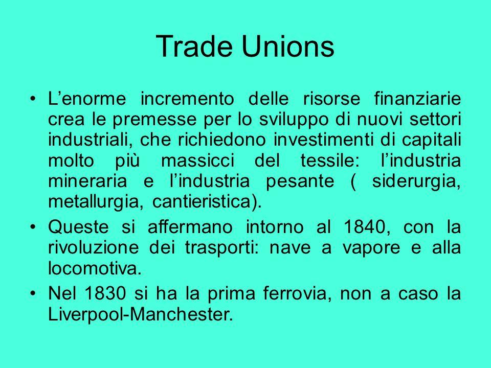 Trade Unions L'enorme incremento delle risorse finanziarie crea le premesse per lo sviluppo di nuovi settori industriali, che richiedono investimenti