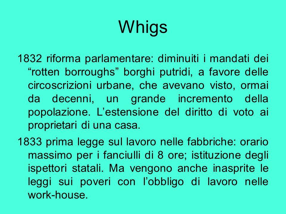 """Whigs 1832 riforma parlamentare: diminuiti i mandati dei """"rotten borroughs"""" borghi putridi, a favore delle circoscrizioni urbane, che avevano visto, o"""