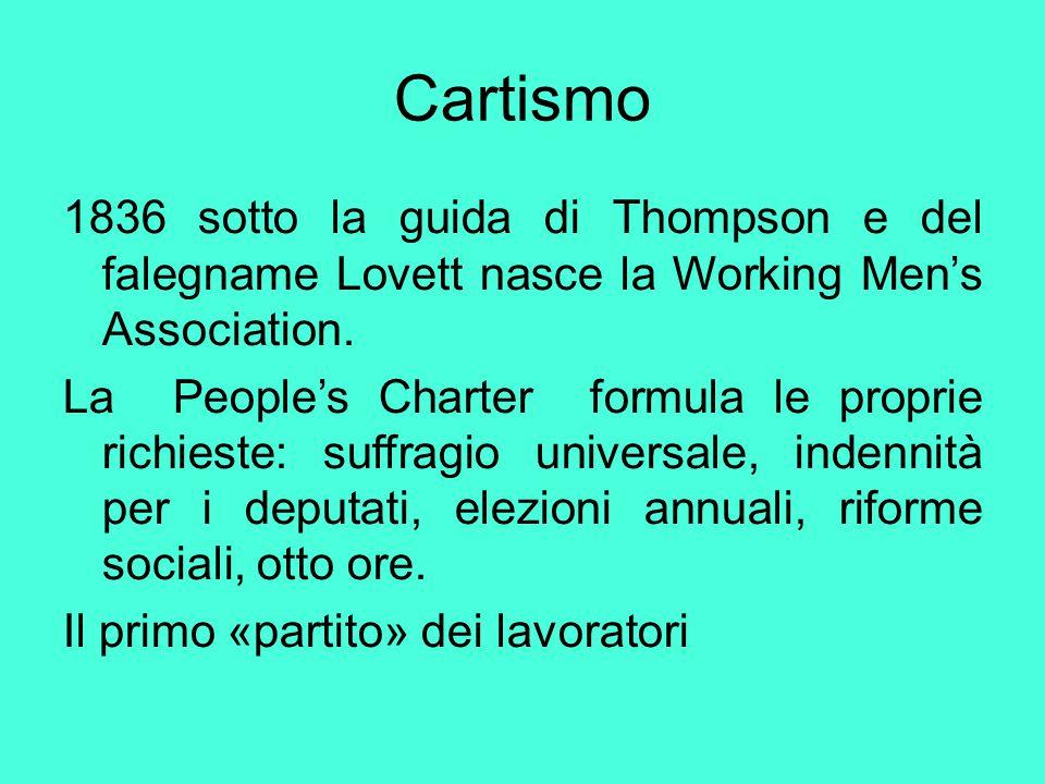 Cartismo 1836 sotto la guida di Thompson e del falegname Lovett nasce la Working Men's Association. La People's Charter formula le proprie richieste: