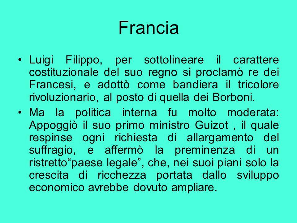 Francia Luigi Filippo, per sottolineare il carattere costituzionale del suo regno si proclamò re dei Francesi, e adottò come bandiera il tricolore riv