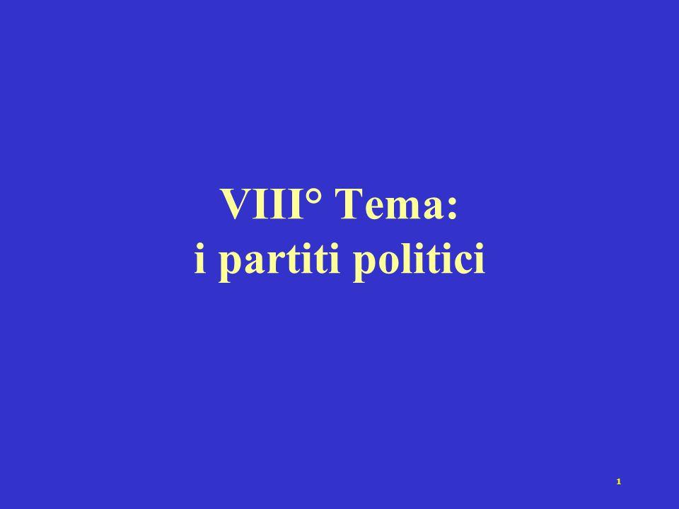 1 VIII° Tema: i partiti politici