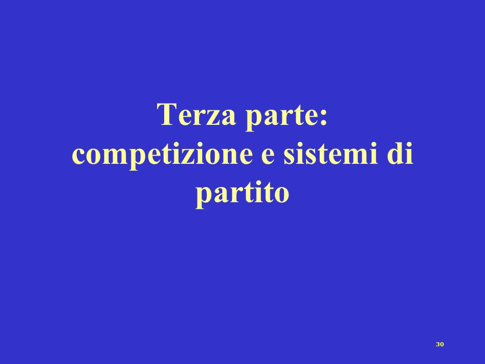 30 Terza parte: competizione e sistemi di partito