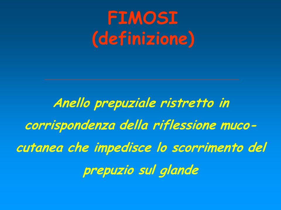 FIMOSI (definizione) Anello prepuziale ristretto in corrispondenza della riflessione muco- cutanea che impedisce lo scorrimento del prepuzio sul gland