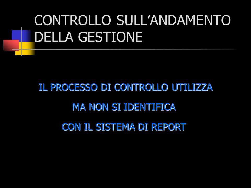 CONTROLLO SULL'ANDAMENTO DELLA GESTIONE IL PROCESSO DI CONTROLLO UTILIZZA MA NON SI IDENTIFICA CON IL SISTEMA DI REPORT