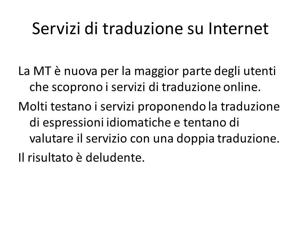 Servizi di traduzione su Internet La MT è nuova per la maggior parte degli utenti che scoprono i servizi di traduzione online. Molti testano i servizi