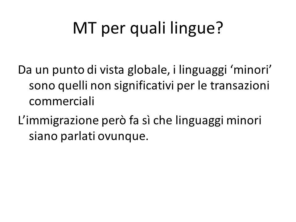MT per quali lingue? Da un punto di vista globale, i linguaggi 'minori' sono quelli non significativi per le transazioni commerciali L'immigrazione pe