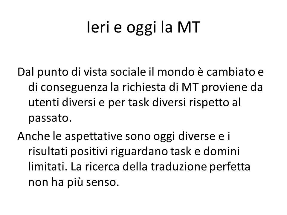 Ieri e oggi la MT Dal punto di vista sociale il mondo è cambiato e di conseguenza la richiesta di MT proviene da utenti diversi e per task diversi ris