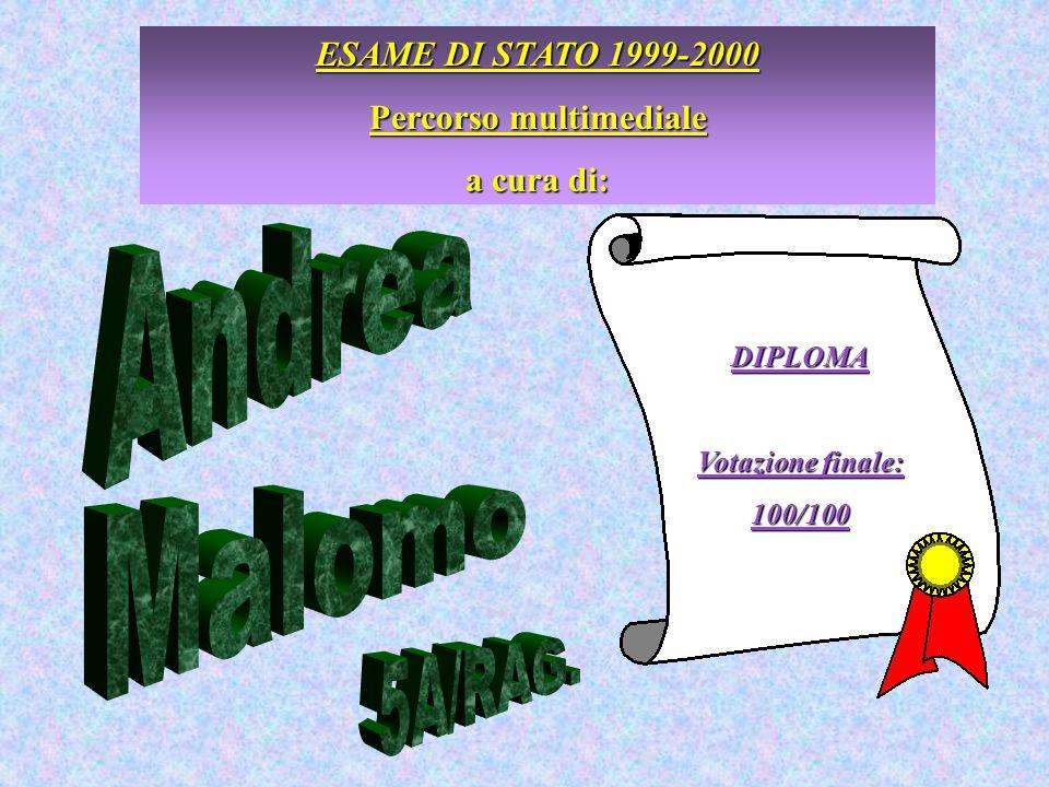ESAME DI STATO 1999-2000 Percorso multimediale a cura di: DIPLOMA Votazione finale: 100/100