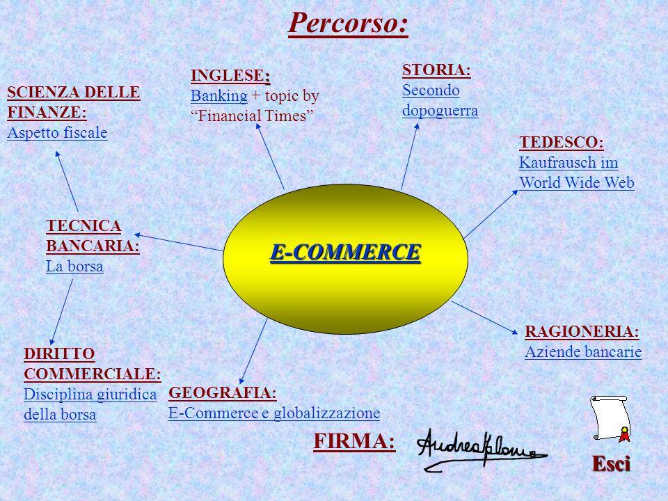 Percorso:Esci E-COMMERCE : INGLESE: BankingBanking + topic by Financial Times TEDESCO: Kaufrausch im World Wide Web RAGIONERIA: Aziende bancarie DIRITTO COMMERCIALE: Disciplina giuridica della borsa SCIENZA DELLE FINANZE: Aspetto fiscale TECNICA BANCARIA: La borsa La borsa GEOGRAFIA: E-Commerce e globalizzazione STORIA: Secondo dopoguerra Secondo dopoguerra FIRMA: