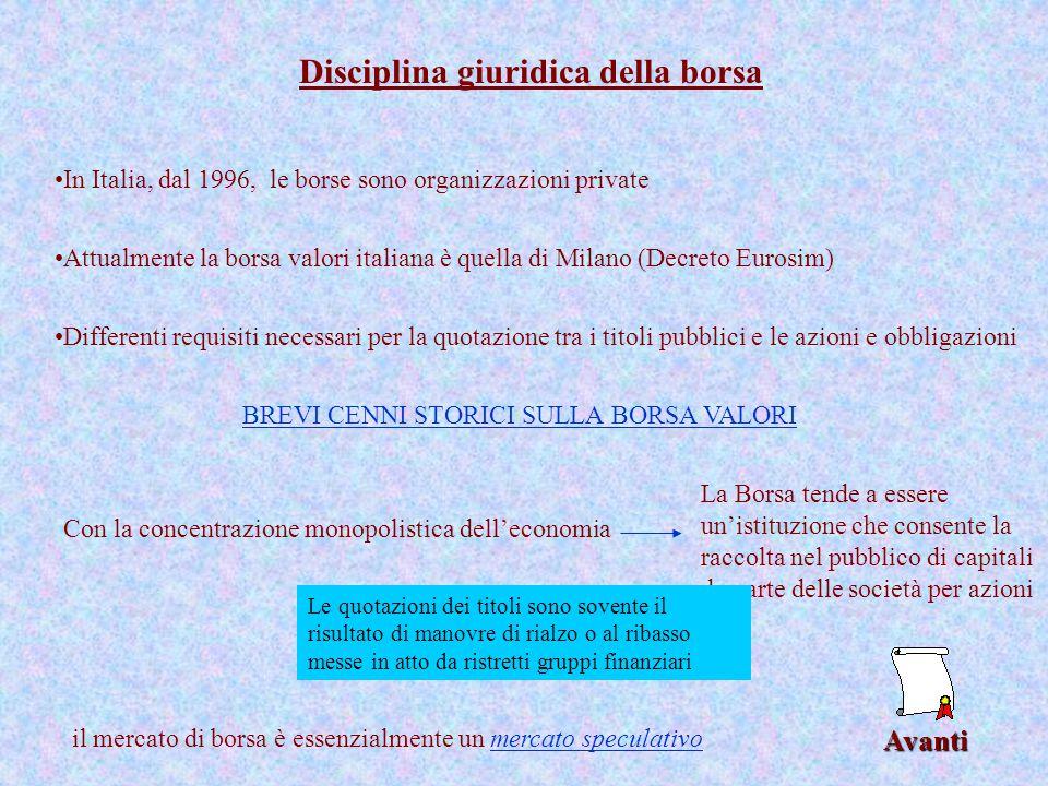 Avanti Disciplina giuridica della borsa In Italia, dal 1996, le borse sono organizzazioni private Differenti requisiti necessari per la quotazione tra