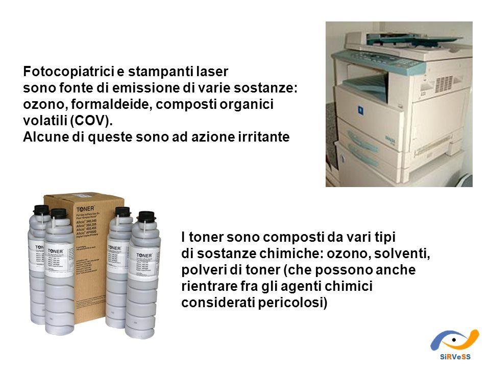 Fotocopiatrici e stampanti laser sono fonte di emissione di varie sostanze: ozono, formaldeide, composti organici volatili (COV). Alcune di queste son