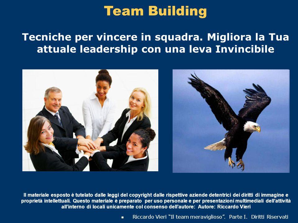 Team Building Tecniche per vincere in squadra. Migliora la Tua attuale leadership con una leva Invincibile Il materiale esposto è tutelato dalle leggi
