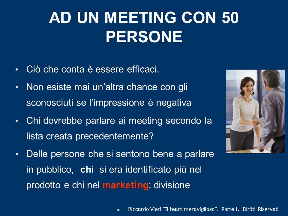 AD UN MEETING CON 50 PERSONE Ciò che conta è essere efficaci. Non esiste mai un'altra chance con gli sconosciuti se l'impressione è negativa Chi dovre