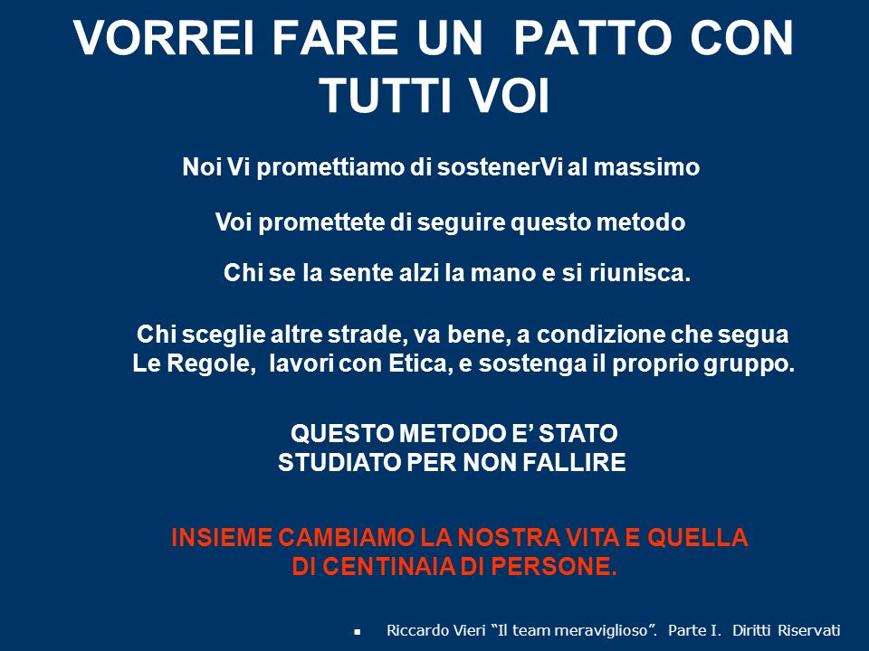 """VORREI FARE UN PATTO CON TUTTI VOI Riccardo Vieri """"Il team meraviglioso"""". Parte I. Diritti Riservati Noi Vi promettiamo di sostenerVi al massimo Voi p"""
