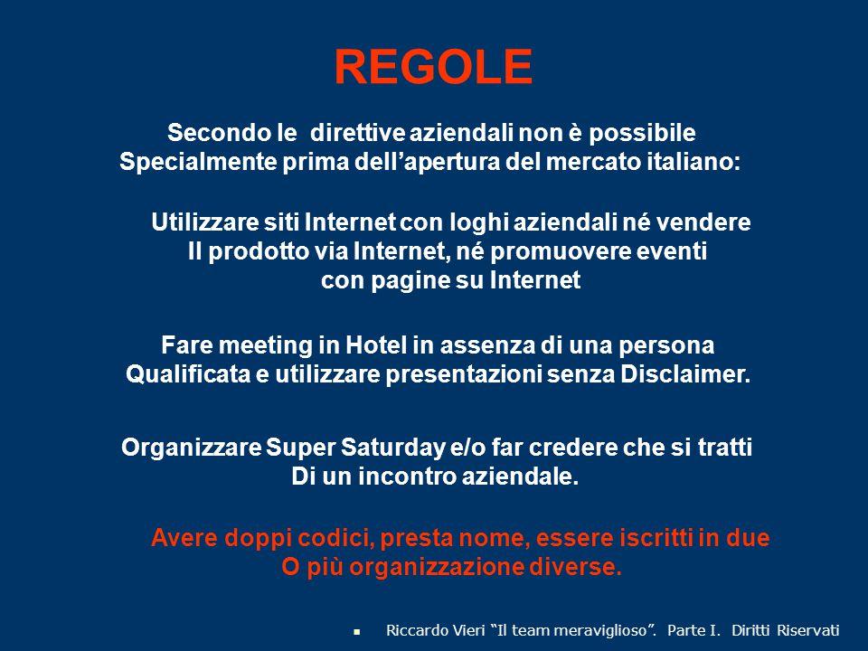 """REGOLE Riccardo Vieri """"Il team meraviglioso"""". Parte I. Diritti Riservati Secondo le direttive aziendali non è possibile Specialmente prima dell'apertu"""