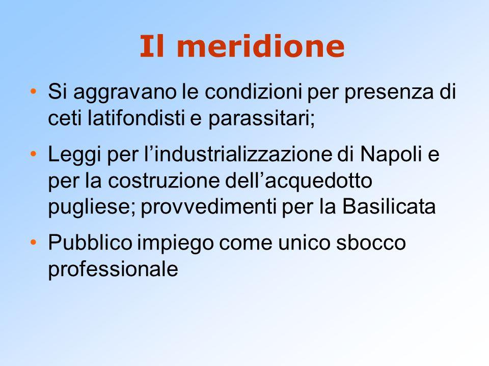 Il meridione Si aggravano le condizioni per presenza di ceti latifondisti e parassitari; Leggi per l'industrializzazione di Napoli e per la costruzion
