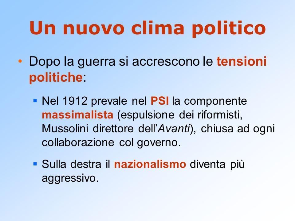 Un nuovo clima politico Dopo la guerra si accrescono le tensioni politiche:  Nel 1912 prevale nel PSI la componente massimalista (espulsione dei rifo