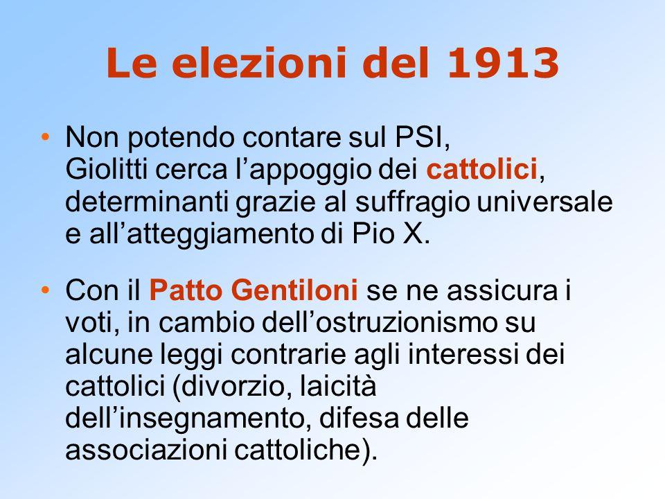 Le elezioni del 1913 Non potendo contare sul PSI, Giolitti cerca l'appoggio dei cattolici, determinanti grazie al suffragio universale e all'atteggiam