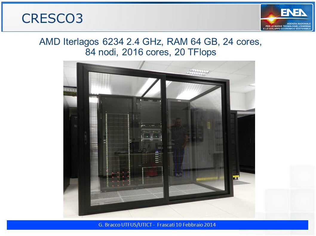 G. Bracco UTFUS/UTICT - Frascati 10 Febbraio 2014 ENE AMD Iterlagos 6234 2.4 GHz, RAM 64 GB, 24 cores, 84 nodi, 2016 cores, 20 TFlops CRESCO3