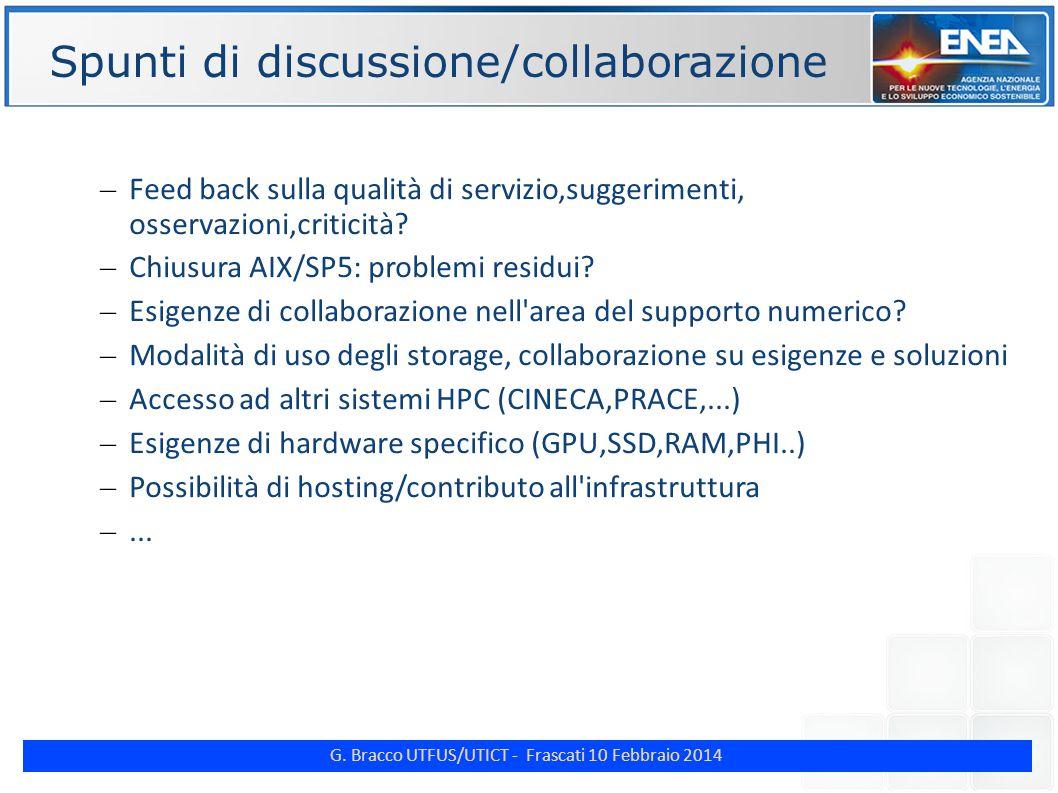 G. Bracco UTFUS/UTICT - Frascati 10 Febbraio 2014 ENE Spunti di discussione/collaborazione – Feed back sulla qualità di servizio,suggerimenti, osserva
