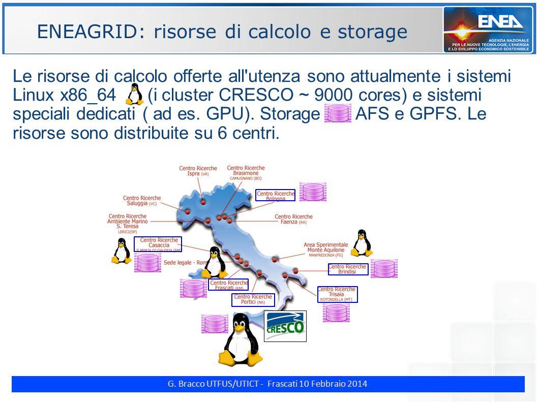 G. Bracco UTFUS/UTICT - Frascati 10 Febbraio 2014 ENE Le risorse di calcolo offerte all'utenza sono attualmente i sistemi Linux x86_64 (i cluster CRES