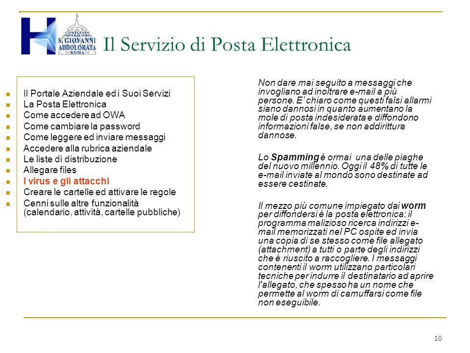10 Il Servizio di Posta Elettronica Il Portale Aziendale ed i Suoi Servizi La Posta Elettronica Come accedere ad OWA Come cambiare la password Come le