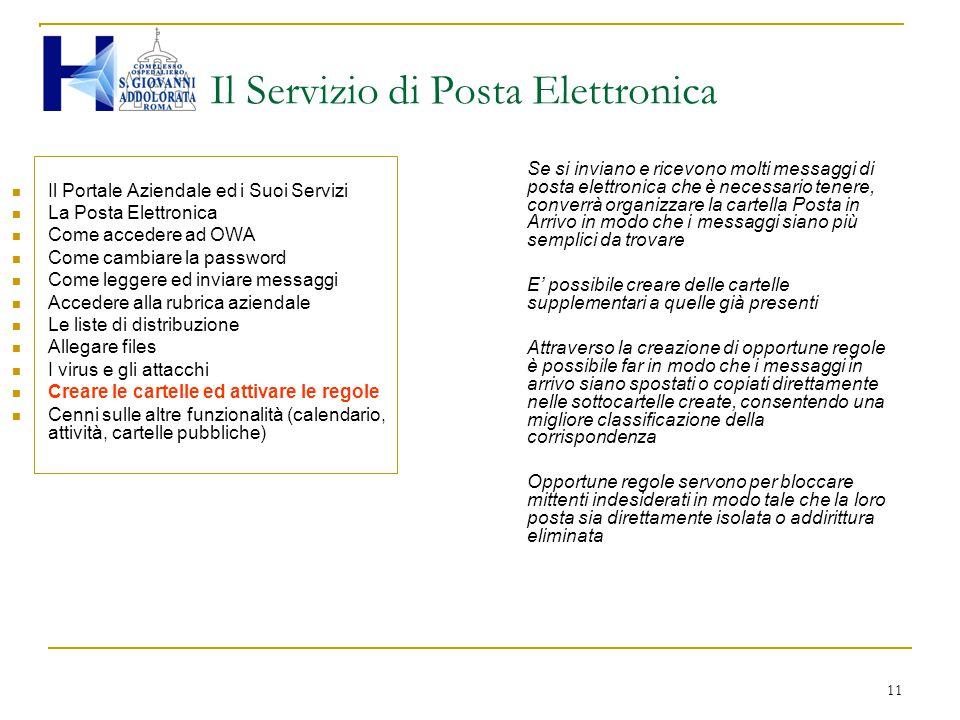 11 Il Servizio di Posta Elettronica Il Portale Aziendale ed i Suoi Servizi La Posta Elettronica Come accedere ad OWA Come cambiare la password Come le
