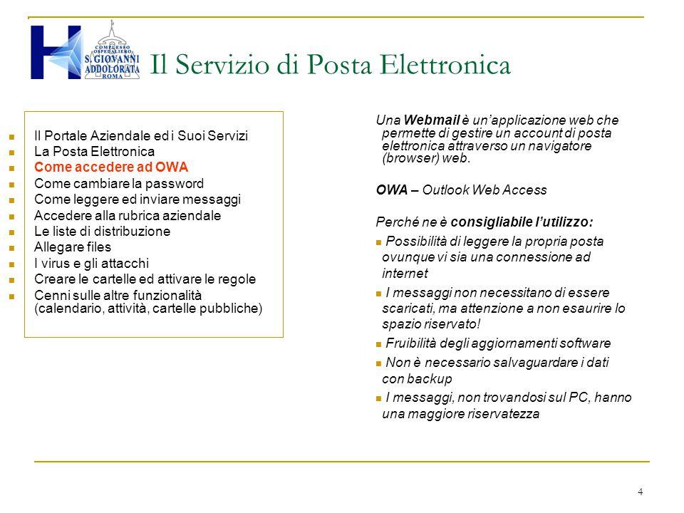 4 Il Servizio di Posta Elettronica Il Portale Aziendale ed i Suoi Servizi La Posta Elettronica Come accedere ad OWA Come cambiare la password Come leg