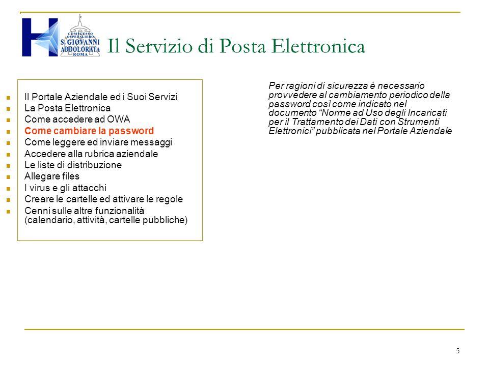 5 Il Servizio di Posta Elettronica Il Portale Aziendale ed i Suoi Servizi La Posta Elettronica Come accedere ad OWA Come cambiare la password Come leg