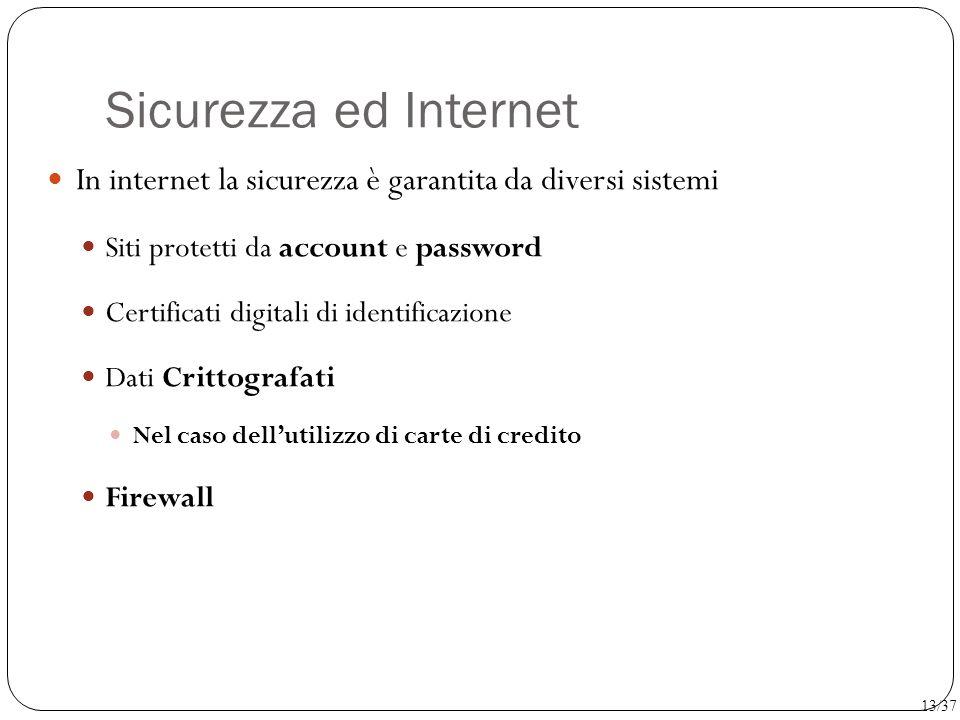 Sicurezza ed Internet In internet la sicurezza è garantita da diversi sistemi Siti protetti da account e password Certificati digitali di identificazi