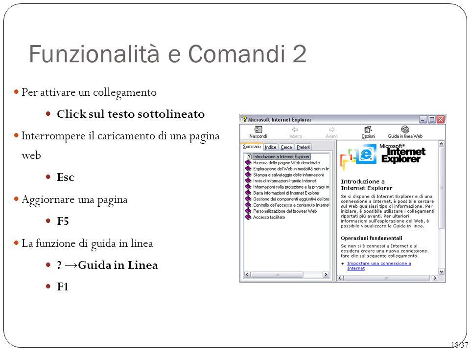 Funzionalità e Comandi 2 Per attivare un collegamento Click sul testo sottolineato Interrompere il caricamento di una pagina web Esc Aggiornare una pa