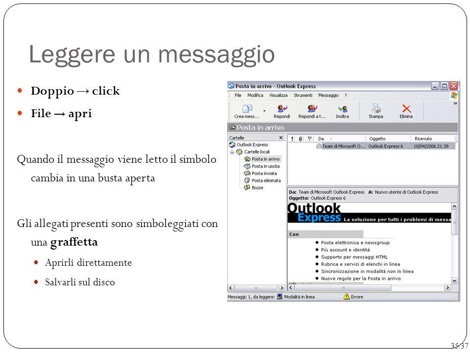 Leggere un messaggio Doppio → click File → apri Quando il messaggio viene letto il simbolo cambia in una busta aperta Gli allegati presenti sono simbo