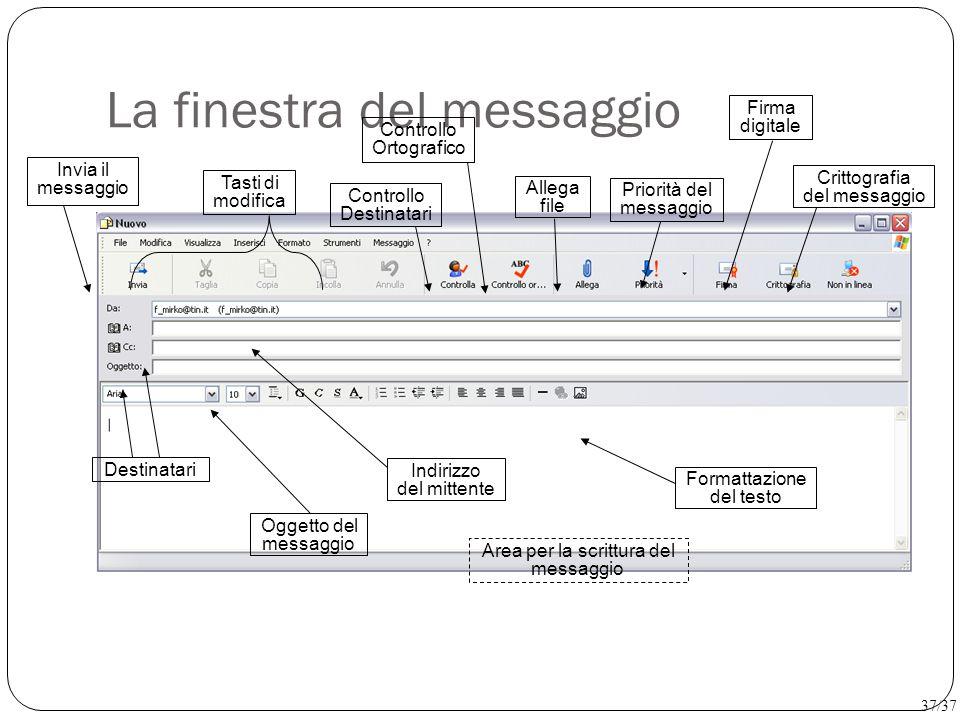 La finestra del messaggio Area per la scrittura del messaggio Destinatari Priorità del messaggio Firma digitale Crittografia del messaggio Allega file