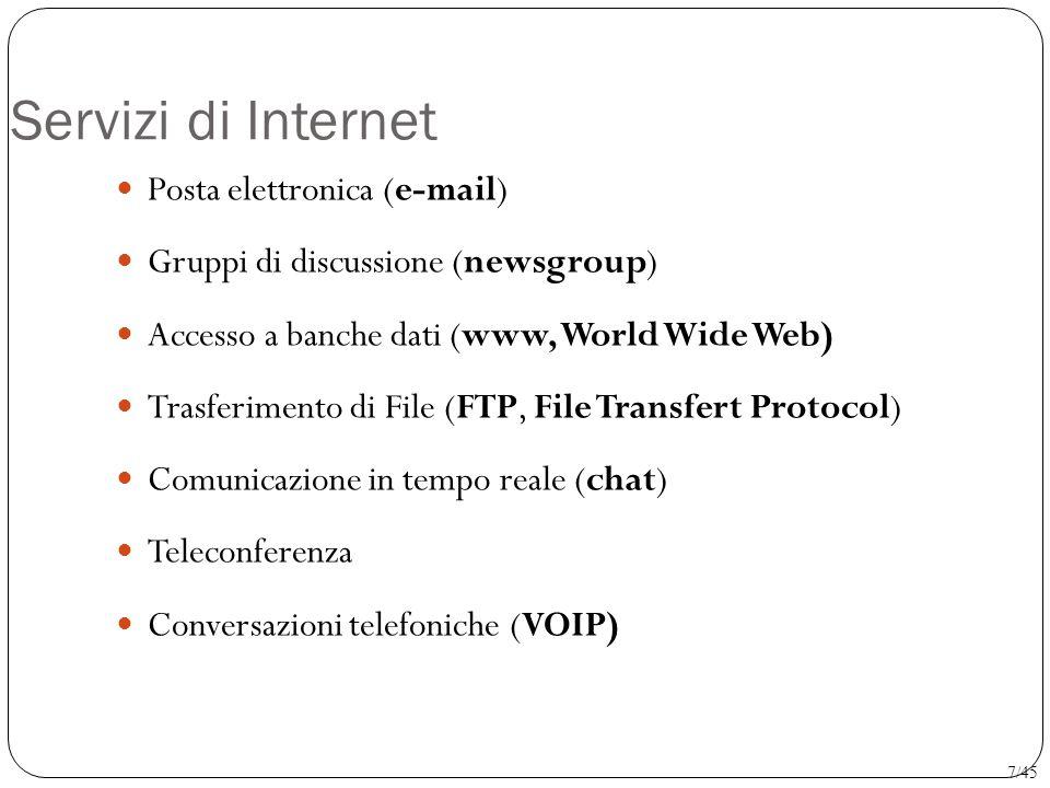 Servizi di Internet Posta elettronica (e-mail) Gruppi di discussione (newsgroup) Accesso a banche dati (www, World Wide Web) Trasferimento di File (FT