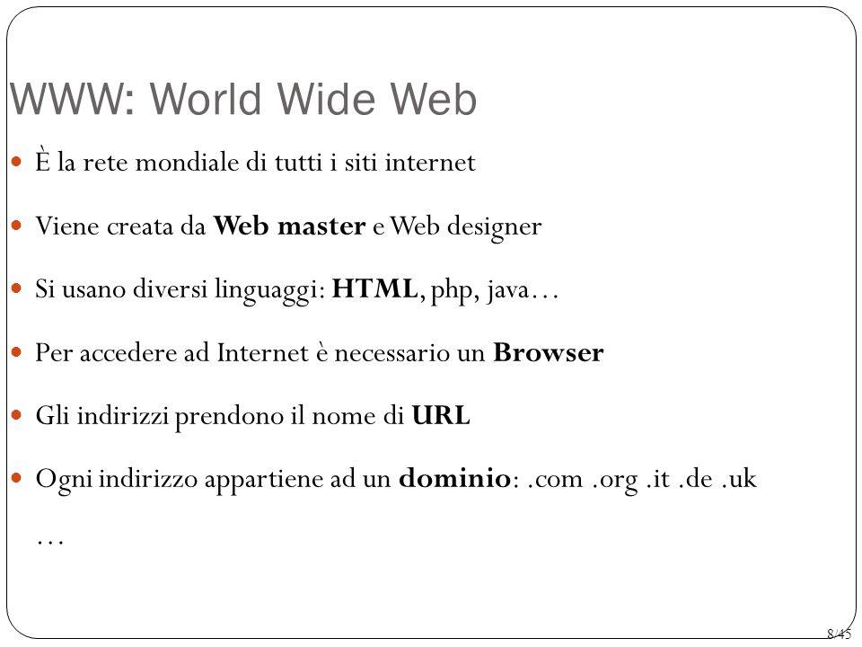 WWW: World Wide Web È la rete mondiale di tutti i siti internet Viene creata da Web master e Web designer Si usano diversi linguaggi: HTML, php, java…