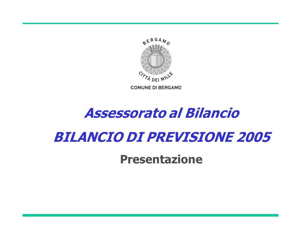 Assessorato al Bilancio BILANCIO DI PREVISIONE 2005 Presentazione