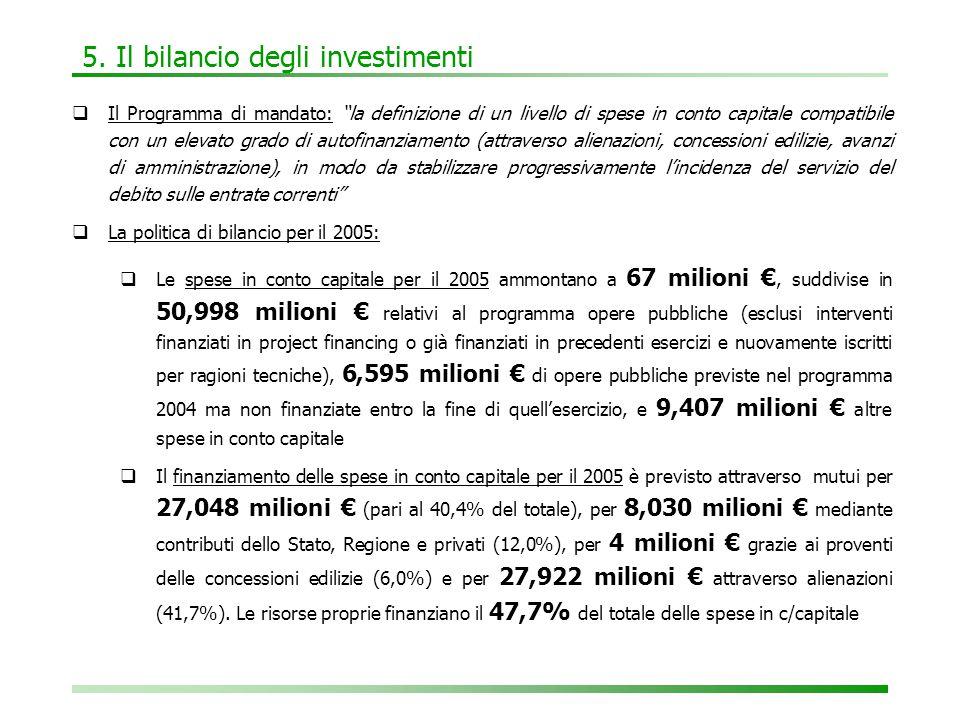 """5. Il bilancio degli investimenti  Il Programma di mandato: """"la definizione di un livello di spese in conto capitale compatibile con un elevato grado"""