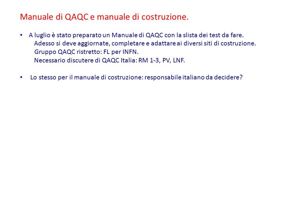 Manuale di QAQC e manuale di costruzione.